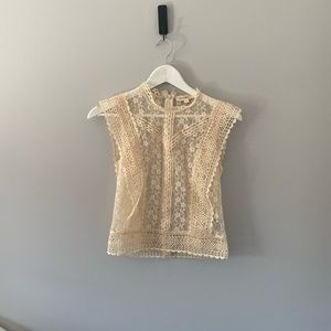 Never Worn Cream Coloured Lace Top - Size XS